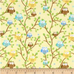 Riley Blake Snips & Snails Flannel Owls Yellow