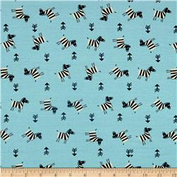 Avalana Jersey Knit Zebras Turquoise