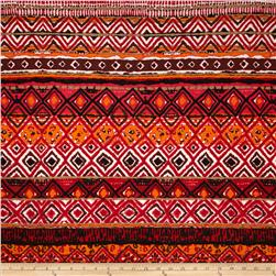 Rayon Jersey Knit Tribal Shapes Red/Black/Orange