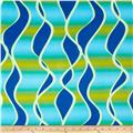 Stretch Venecia ITY Jersey Knit Waves Teal/Yellow