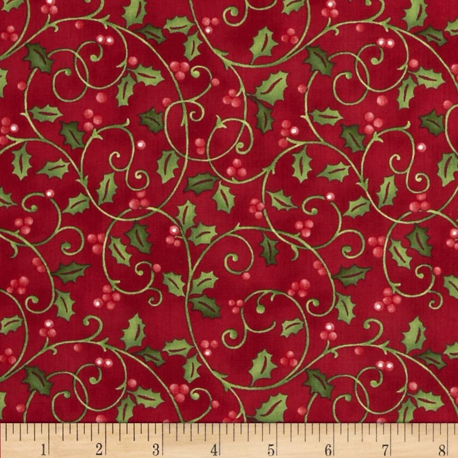 Santa's Here Holly Print Red