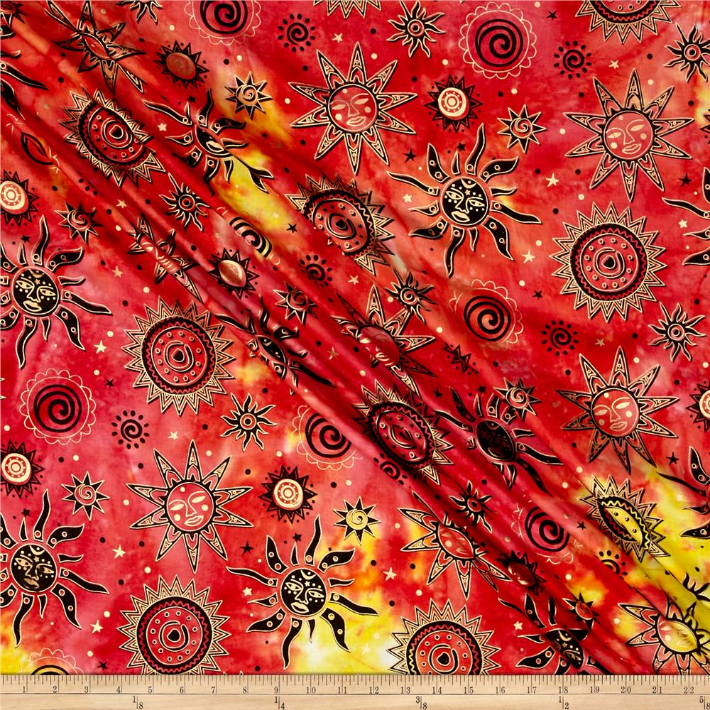 Indian Batik Odyssey Gold Sun Fuchsia Multi