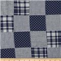 Madras Patchwork Plaid Navy Chambray