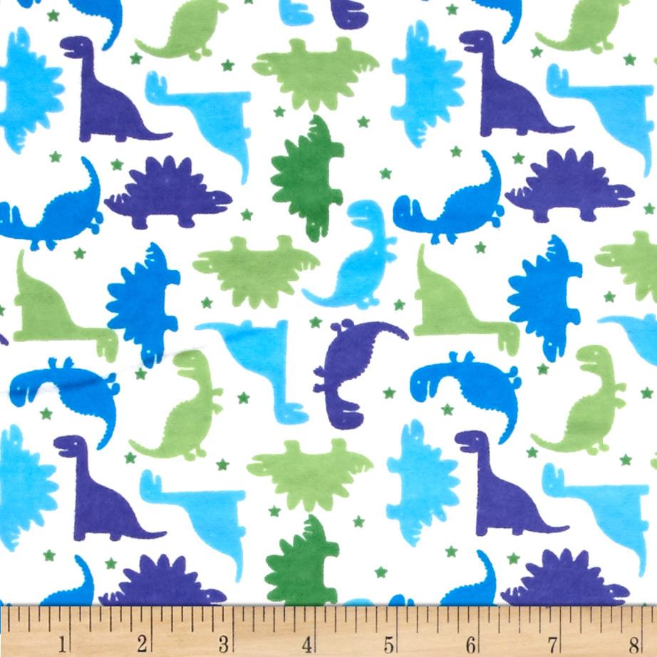 Flannelland dinosaur story white green discount designer for Dinosaur fabric