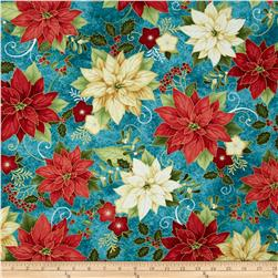 Happy Holidays Metallic Poinsettia Teal