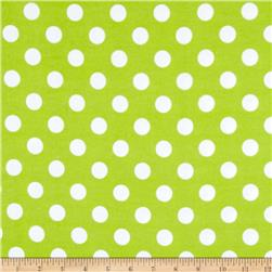 Riley Blake Flannel Basics Dots Medium Lime Fabric