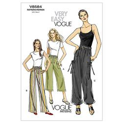 Vogue Misses' Pants and Belt Pattern V8584 Size BB0