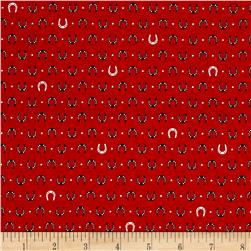 Kaufman Tiny Happy Lucky Horseshoes Red