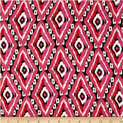 Rayon Challis Ikat Diamonds Pink