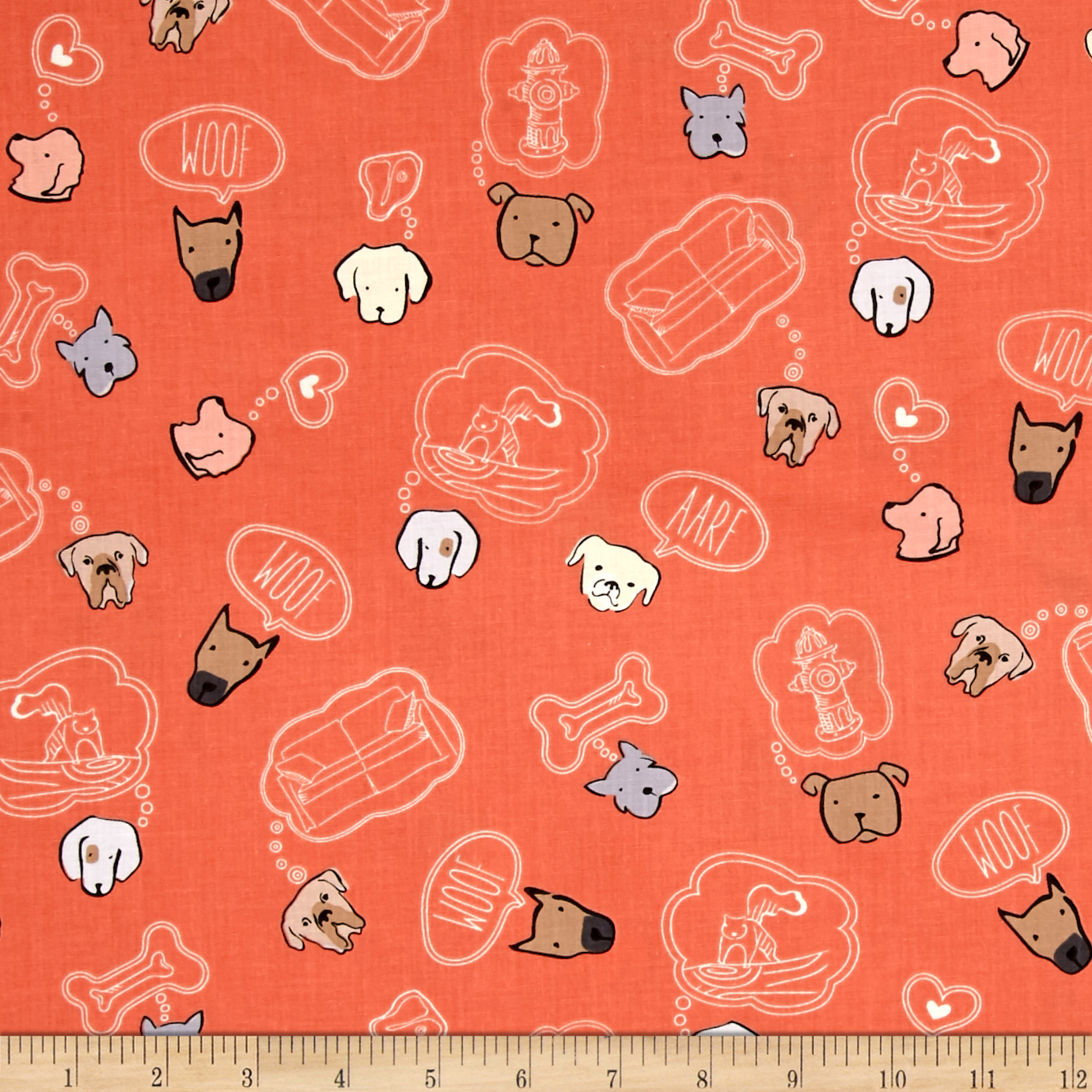 Dawg Dawg Thoughts Salmon Fabric by Quilting Treasures in USA