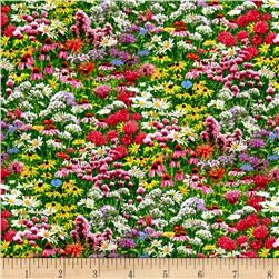 Bees and Flowers Allover Flower Meadow Multi