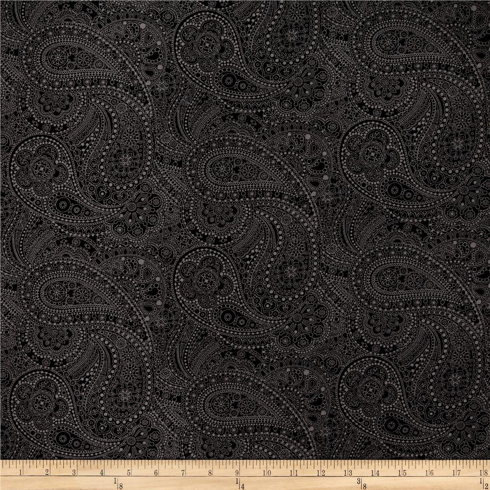 "108"" Wide Quilt Back Chelsea Dot Paisley Black"