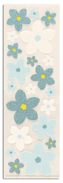 Martha Stewart Crafts Stickers Glitter Forget-Me-Not Flowers Blue