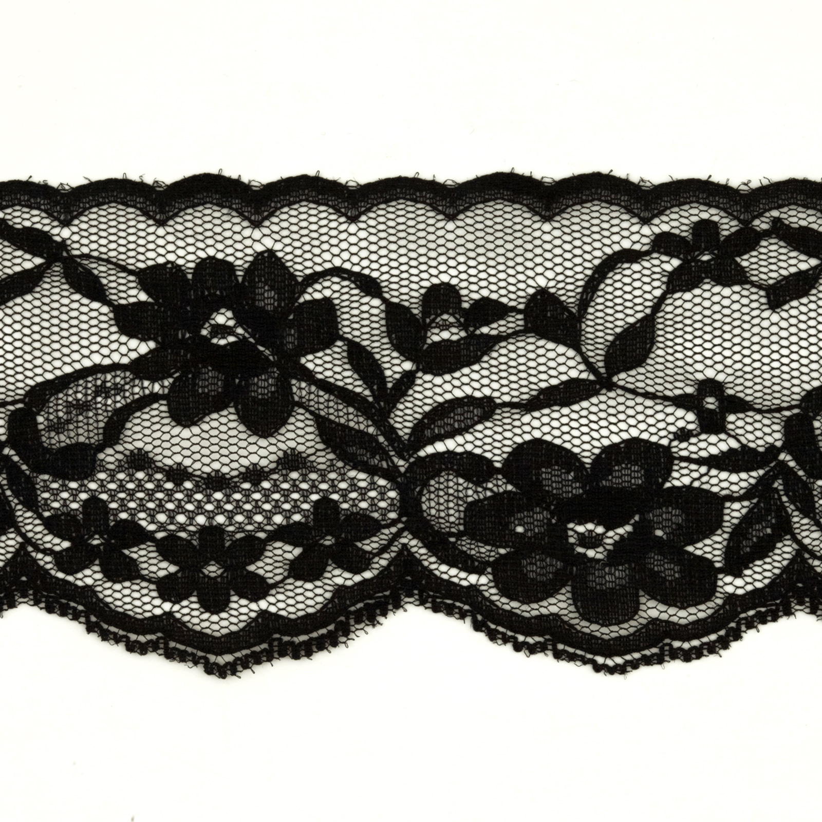 Guide to Victorian Civil War Costumes on a Budget 2-34 Chantilly Lace Trim Black $1.56 AT vintagedancer.com