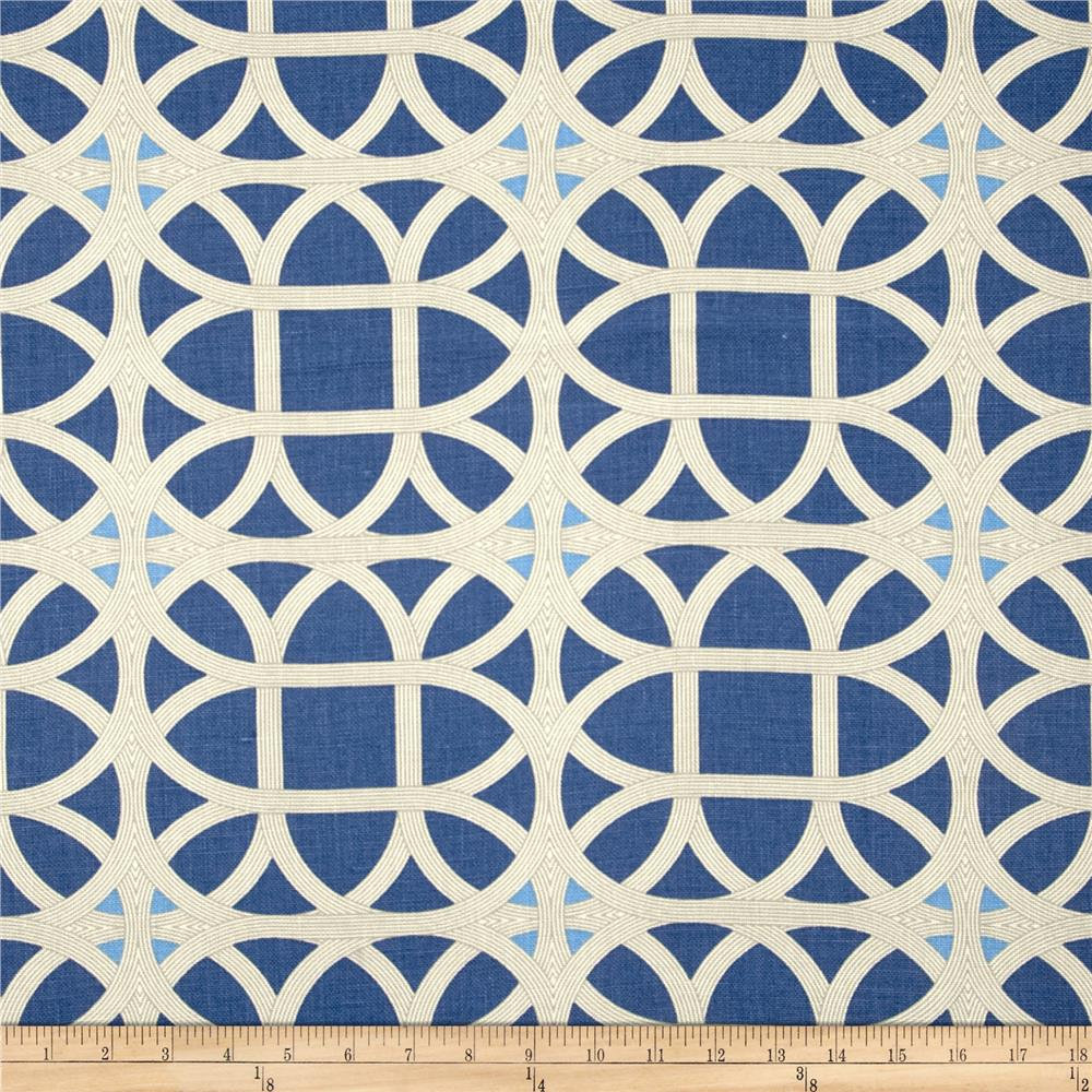 Waverly Williamsburg Lamerie Lattice Linen Sapphire