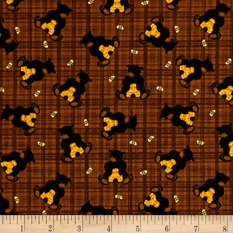 Image of Bear Paws Bear with Honey Plaid Brown Fabric