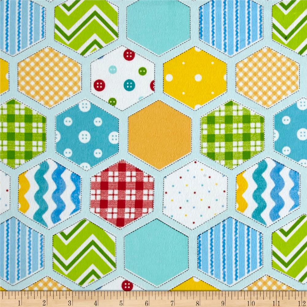 Ric Rac Paddywack Flannel Hexi Patchwork Blue