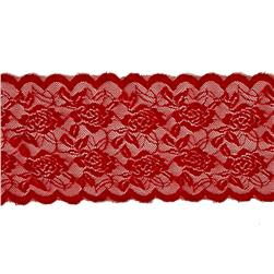 "6.5""Angelina Stretchable Polyester Chantilly Lace Trim Red"