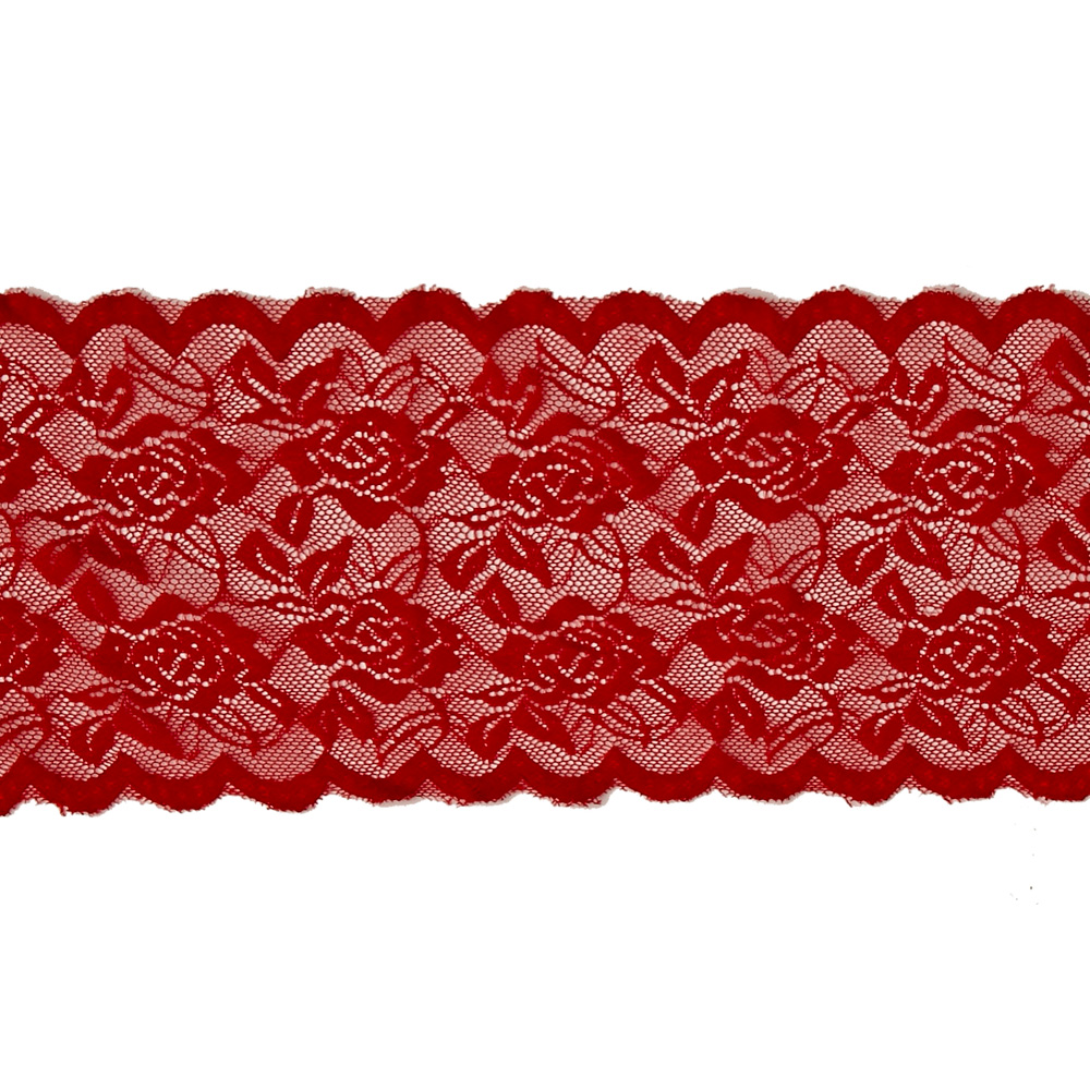 Image of 6.5''Angelina Stretchable Polyester Chantilly Lace Trim Red