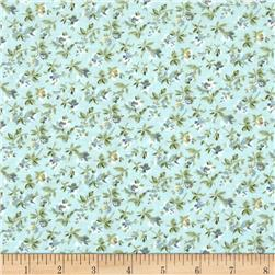 Subtle Skies Small Floral Blue Fabric
