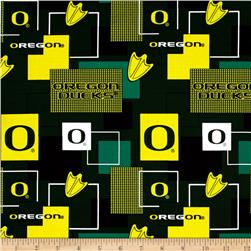 Collegiate Cotton Broadcloth University Of Oregon Block Print Green