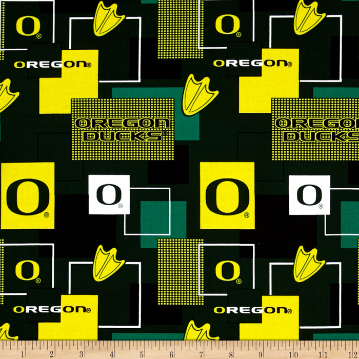 Collegiate Cotton Broadcloth University Of Oregon Block Print Green Fabric by Sykel in USA