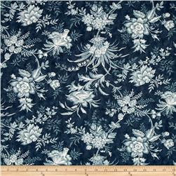 "Moda Snowberry Prints 108"" Quilt Back Floral Toile Midnight"