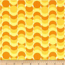 Dots Right Circle Stripe Yellow Fabric