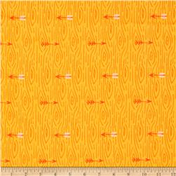 Happy Camper Flannel Wood Grain Orange