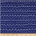 Riley Blake Treasure Map Flannel Waves Navy
