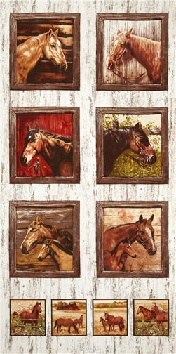 Timeless Treasures Horse Panel Natural