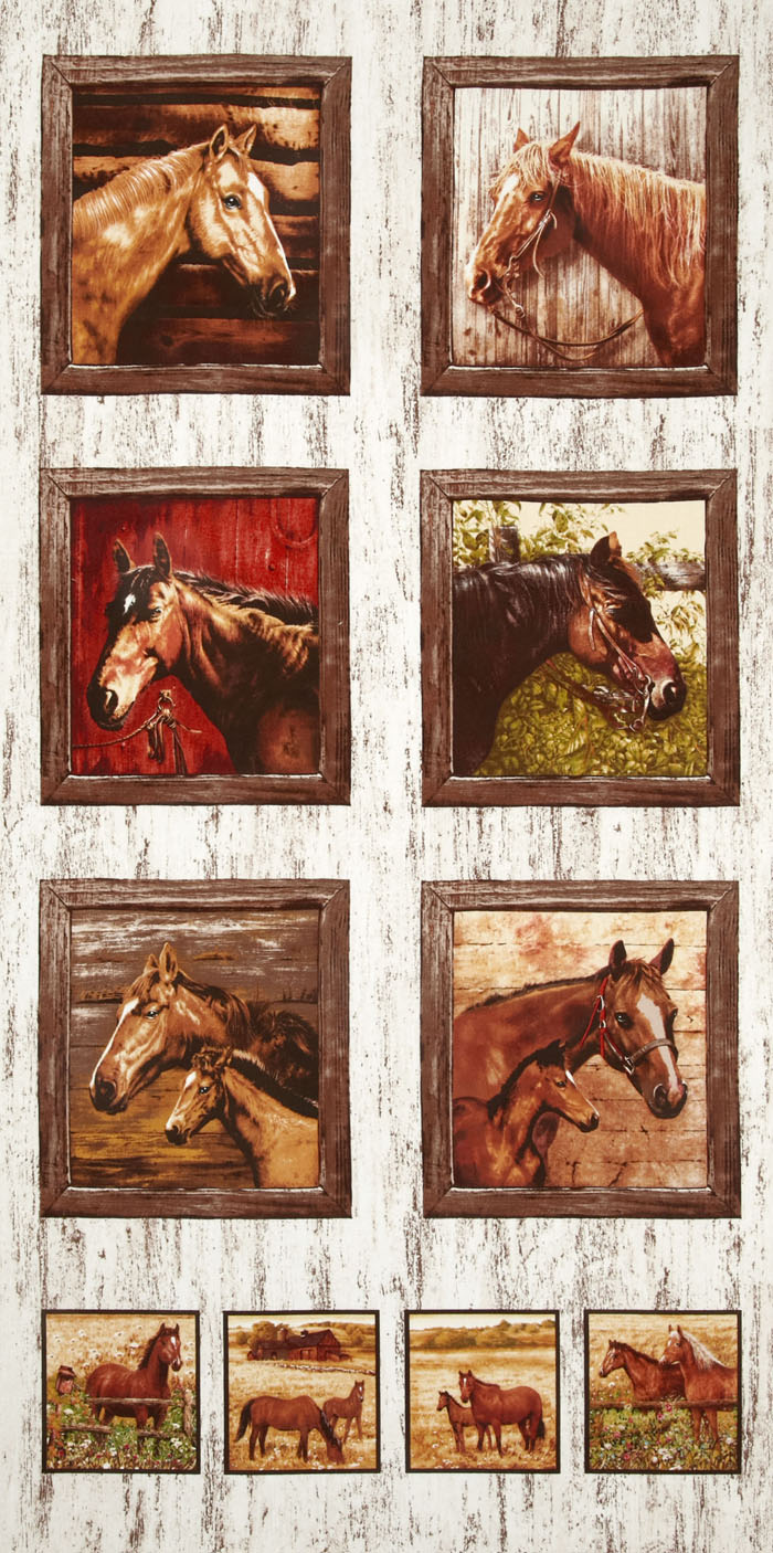 Timeless Treasures Horse Panel Natural Fabric