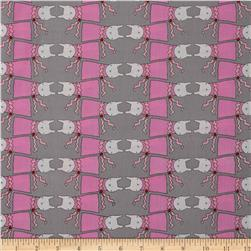 Ric Rac Rabbit Stripe Grey Fabric