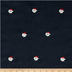 Embroidered 21 Wale Corduroy Santa Navy/White