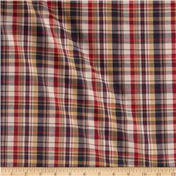 Stretch Yarn Dyed Plaid Shirting Red/Navy