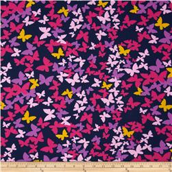 Butterfly Cotton Poly Broadcloth Navy