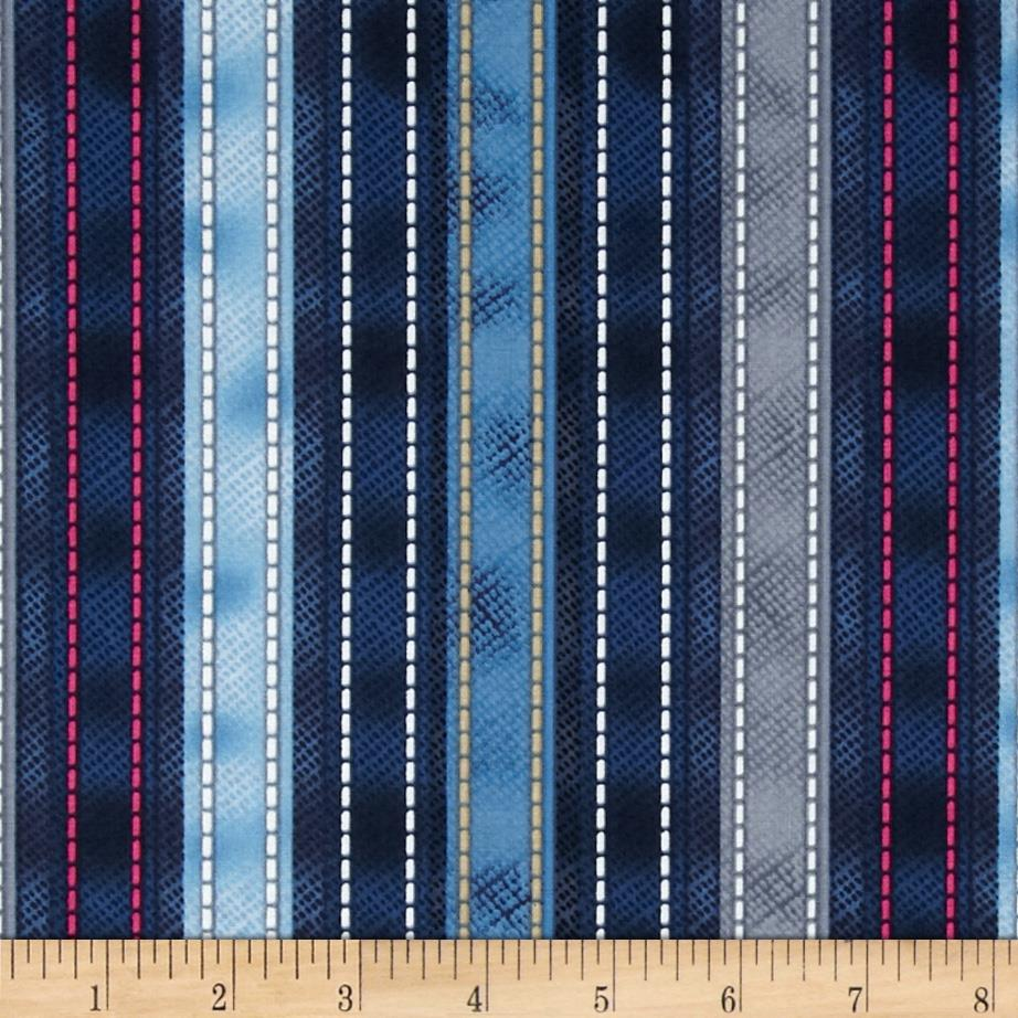 Diamonds & Denim Small Stitching Stripe Blue