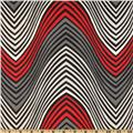 Stretch Rayon Blend Jersey Knit Zig Zag Red/Grey