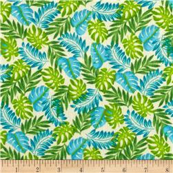 Classic Cottons Jungle Power Flannel Leaves Green/Blue