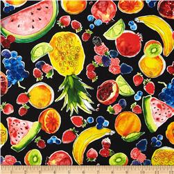 Metro Market Fruits Black Fabric