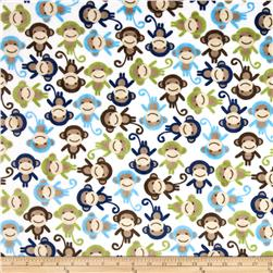 Minky Cuddle Urban Zoologie Monkey Midnight Blue