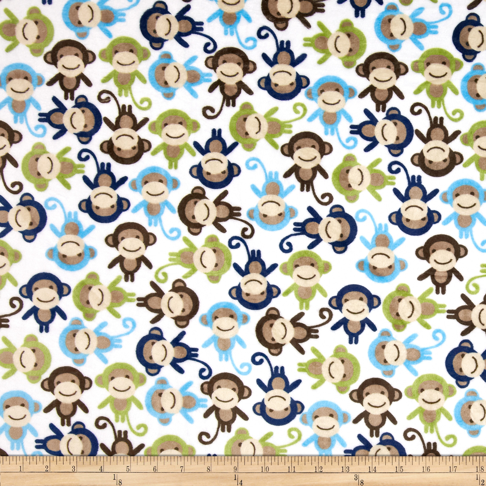 Minky Cuddle Urban Zoologie Monkey Midnight Blue Fabric