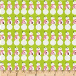 Riley Blake Christmas Basics Snowman Lime Fabric