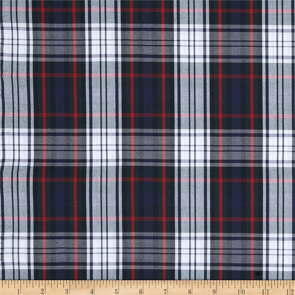 Poly/Cotton Uniform Plaid Black/Red/White