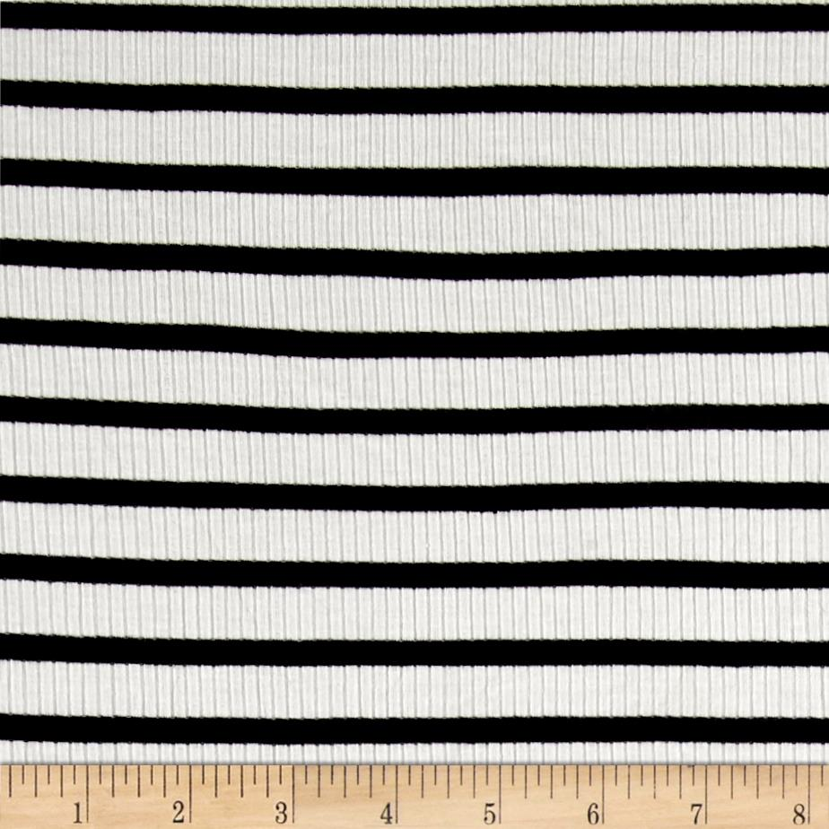 Rib Knit Stripe Ivory/Black