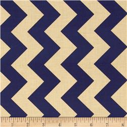 Riley Blake Medium Chevron Navy/Tan Fabric