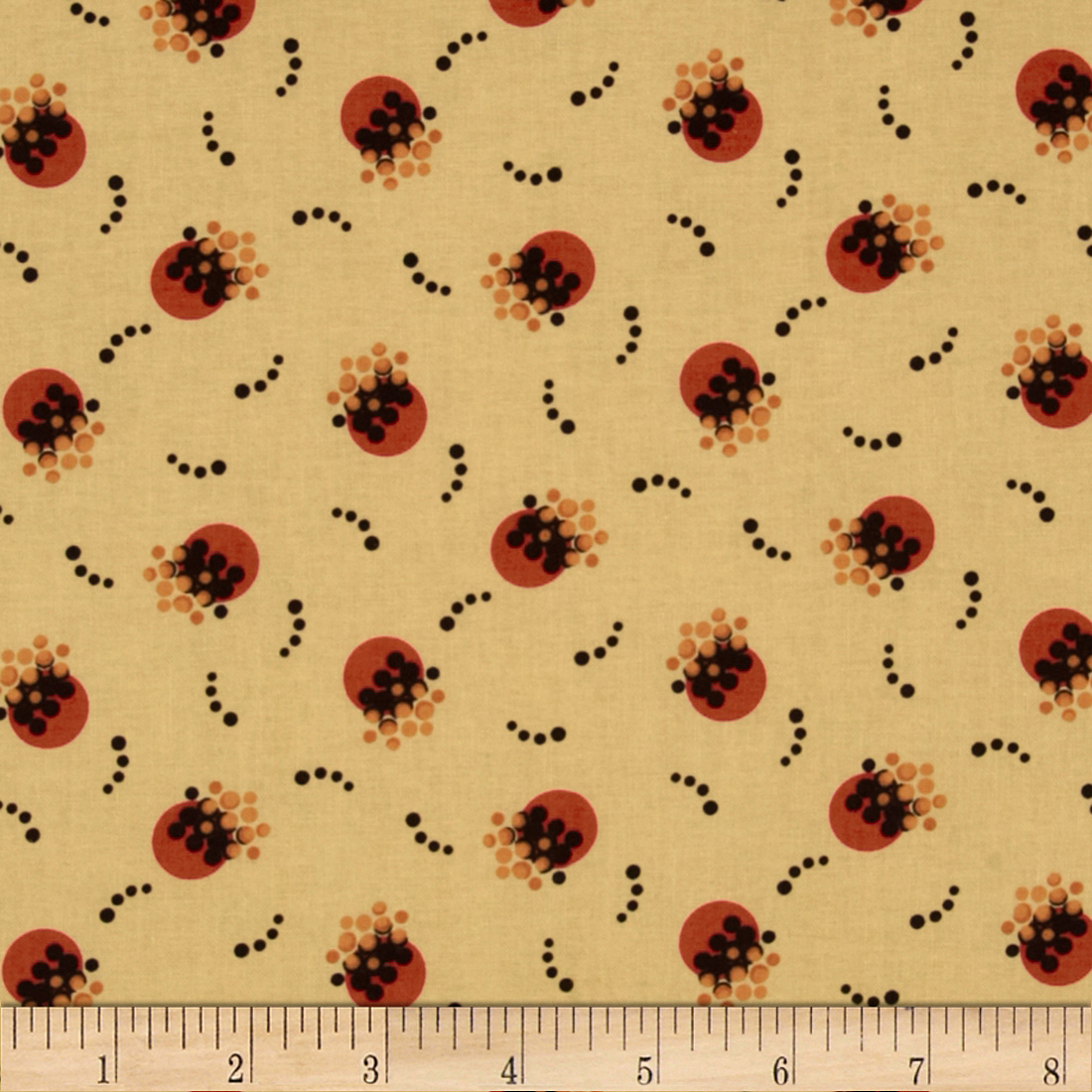 Retro Geo Dots Cream/Orange Fabric