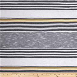Designer Yarn Dyed Jersey Knit Stripes Gold/Navy/White Fabric