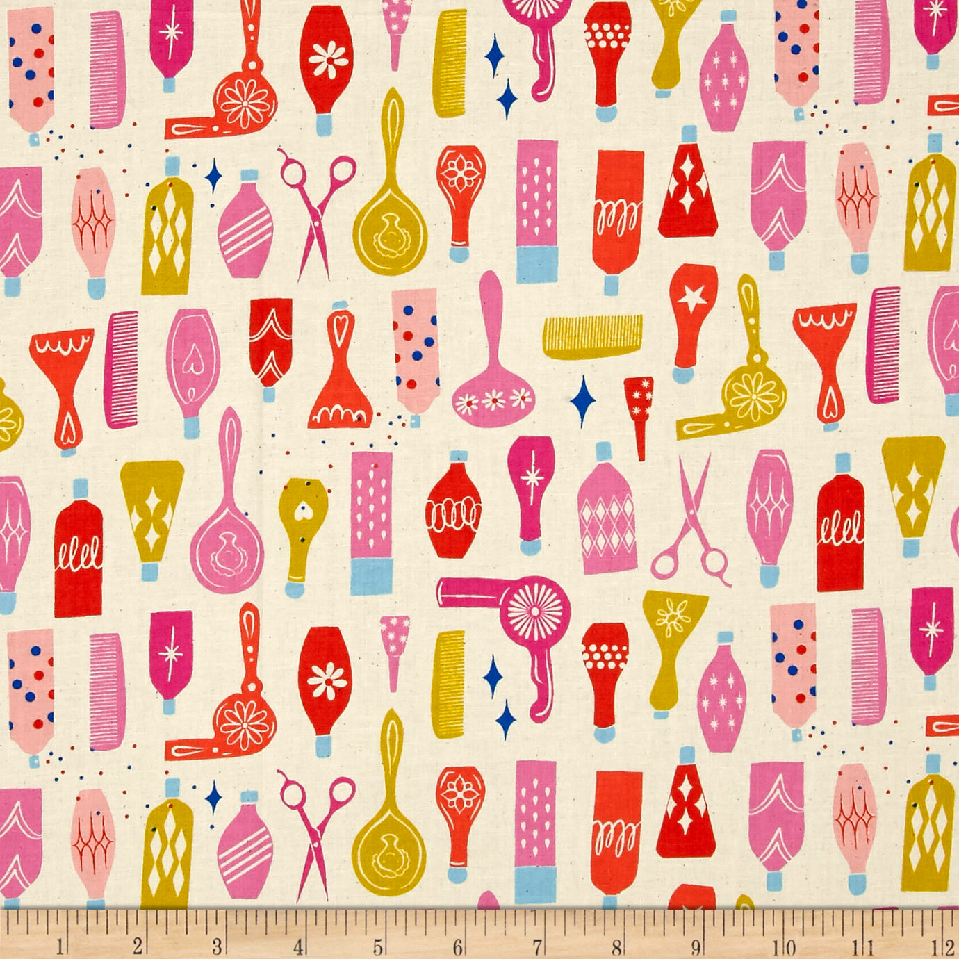 Image of Cotton + Steel Beauty Shop Parlour Natural Fabric
