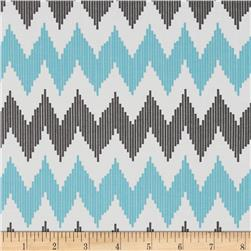 Design Studio Pinstripe Chevron Blue Fabric